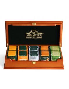 CAJA MADERA AHMAD CON 100 SACHET DE TE (E. GREY + CEYLON + GREEN + CINNAMON + PEACH)