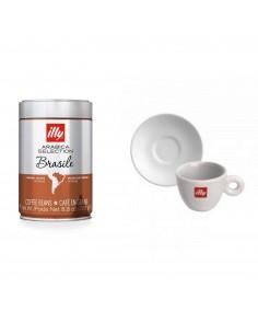 PACK CAFÉ MONOARABICO BRASIL + 2 TAZAS ESPRESSO + PLATO ILLY